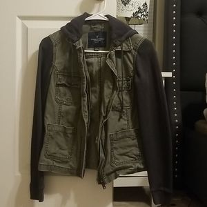 Olive green with gray sleeve jacket